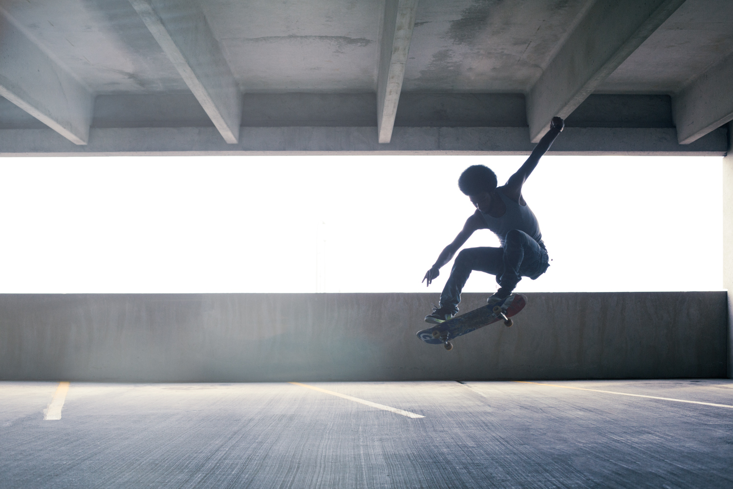 skateboarding-in-the-paking-garage